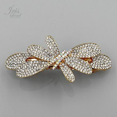 18K Gold Plated GP Clear Rhinestone Crystal Butterfly Barrette Hair Clip pin 321
