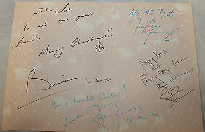 1986 Fan Club Exclusive Queen signed Christmas Card Freddie Mercury Facsimile