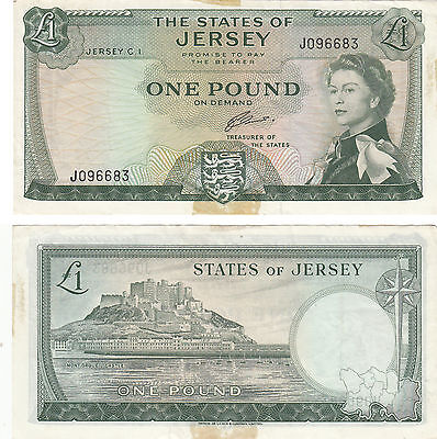 The State Of Jersey 1 Pound Banknote, P#8,nd1963,sign#2,#j096683