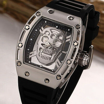 Cool Students Fashion Unisex Skull Silicone Analog Quartz Wrist Watch Sport Gift