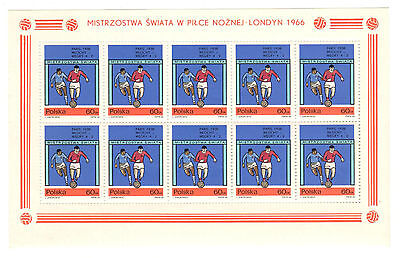 POLAND 1966 - World Cup Soccer Champioships, 1966 - Sheet of 10 60 Gr. Stamps