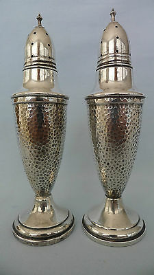 Vintage Sterling Silver Rogers Smith Co Salt Pepper Shakers Hammered #224 5 3/4""
