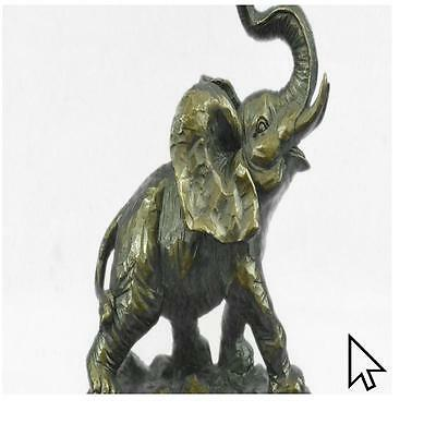 Handcrafted Bronze Elephant Figurine Sculpture Statue African Signed Figure  A