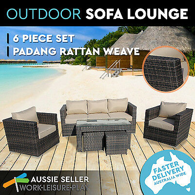 New Padang Wicker Rattan Weave Pool Patio Lounge Indoor Outdoor Couch 6PC Brown