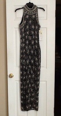 Papell Boutique Evening  Black Silk Beaded Dress Size 12 NWT Halter Top