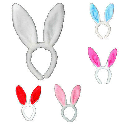 Bunny Plush Ears Headband Tail Bow Party Kids Costumes Girls Rabbit Fluffy Ear