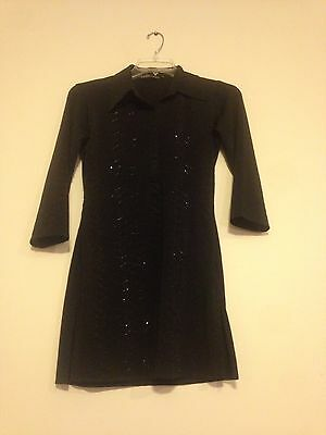 Indian Designer Ladies Top Blouse Long Kurta Kurti Tunic Women Black Size Small