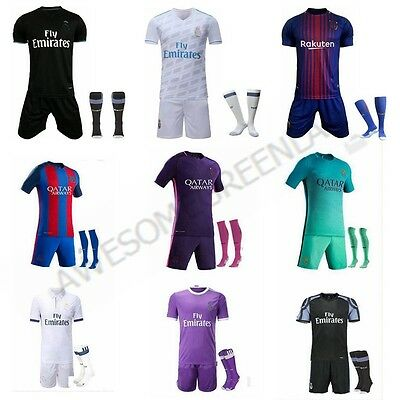 16/17/18 Football Soccer Club Jersey Short Sleeve Kids Team Boys Kit & socks UK