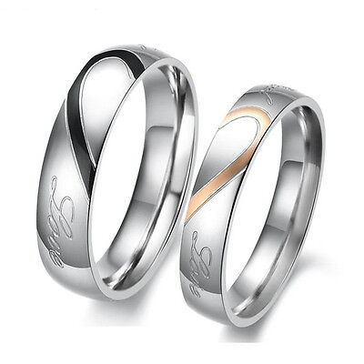 """Stainless Steel """" Real Love """" Heart Couples Promise Engagement Ring Wedding Band"""