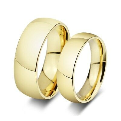 8mm Wide 316L Stainless Steel  Gold Plated Classic Comfort Fit Wedding Ring Band