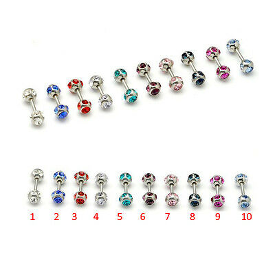 Titanium Steel rhinestone Crystal Ball Pierced Women Men Ear stud Earrings 2pcs