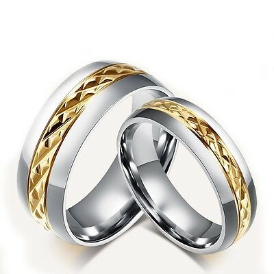 8mm&6mm Titanium Steel Ring Couple Gold Plated Rings Silver Wedding Promise Band