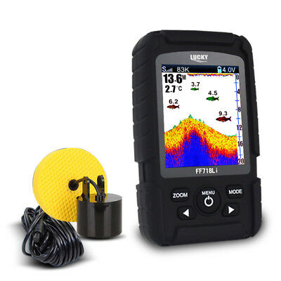 Color Fish Finder Alarm Wired & Wireless Transducer High Contrast Rechargeable