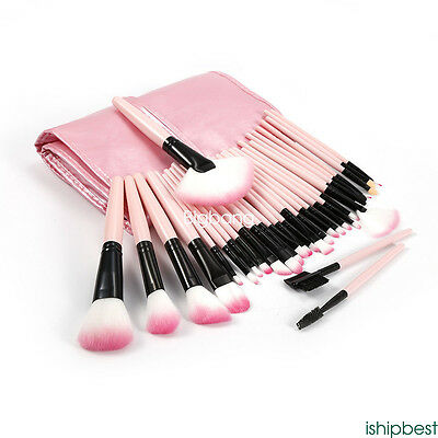 Fashion 32pcs Soft Cosmetic Eyebrow Shadow Makeup Brush Set Kit + Pouch Bag