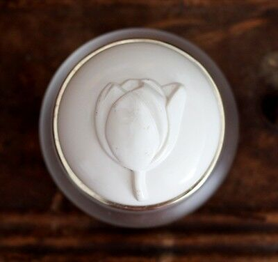 Vintage Frosted Glass Cosmetic Dresser Jar Container with Lid tulip rose