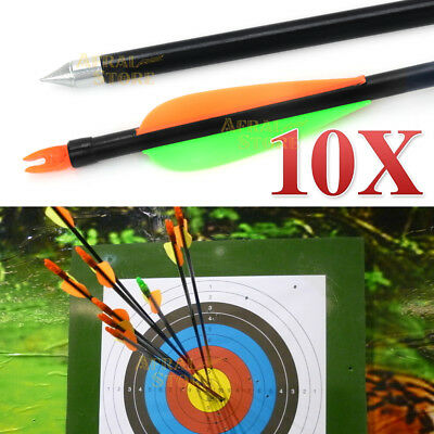 "10x 32"" Fiberglass Arrows 15-80LB Archery Hunting Target Recurve Compound Bow"