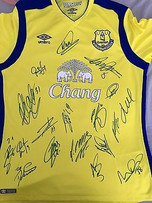 Signed Everton Squad Shirt 16/17 Proof Koeman Barkley Lukaku Davies