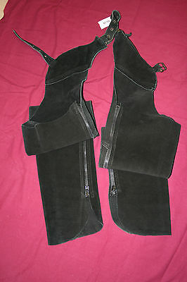 Adults Suede Full Length Black Chaps XS Size
