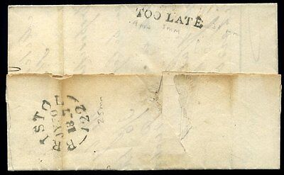 "1827 BRISTOL ""TOO LATE"" Cover to St Ives Cornwall"