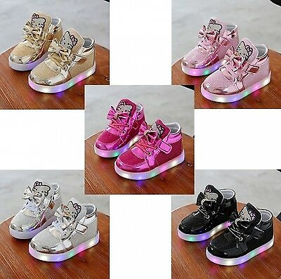 LED Hello Kitty Sneakers Tennis Shoes  Lace Up Luminous Light Lace Up Kids Shoes
