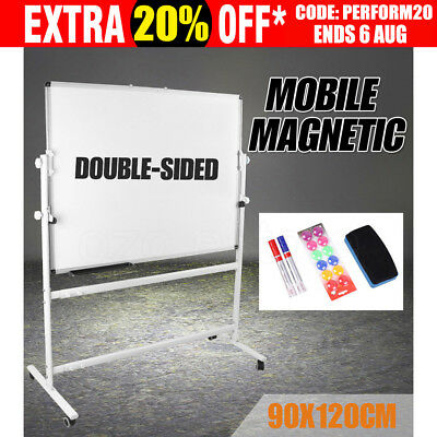 Magnetic Mobile Whiteboard 900mmx1200mm Stand Office & Home Quality White Board