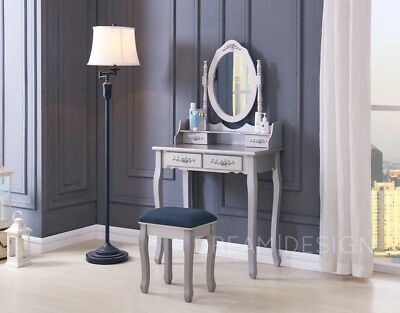 Wooden Dressing Table with Stool and Mirror Bedroom Vanity Makeup Desk 4 Drawer