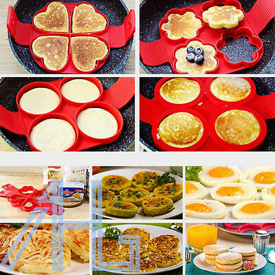 Non Stick Pancake Silicone Mold Perfect Flip Egg Omelette Breakfast Maker Tool