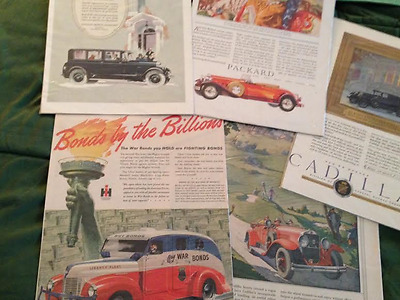 5 Lrg. full color vintage auto ads - Packard, Cadillac, Lincoln, International