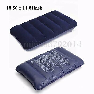 1/2X Big Inflatable Travel Air Pillow Flight Flock Flocked Cushion Beach Camping