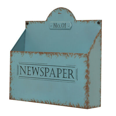 Vintage Blue Wall Mounted Newspaper and Magazine Storage Rack by Dibor