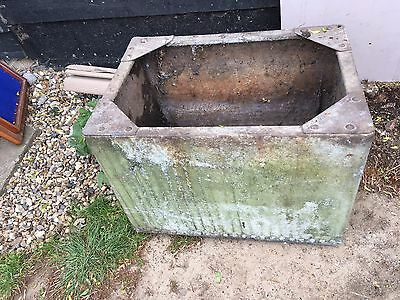 Small Galvanised riveted water tank butt garden planter vintage (marks Tey)