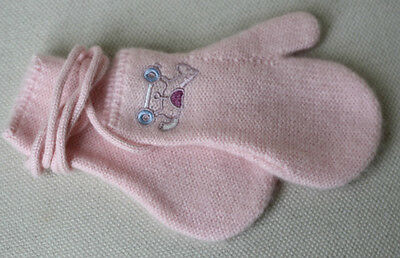 Hermes Baby Adada Pink Cashmere Mittens 2 Years