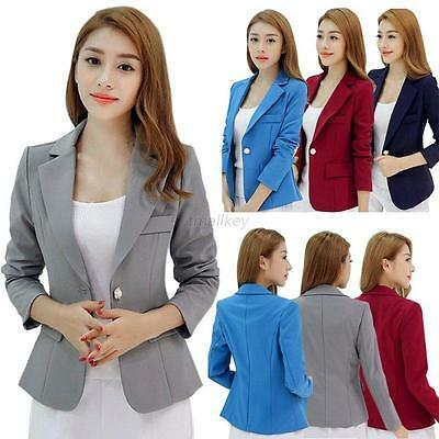 AU Womens Long Sleeve Solid OL Work Jacket Suit Blazer Coat Lapel One Button Top