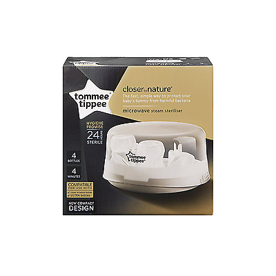 Tommee Tippee Microwave Sterilizer Chemical-Free Sterilizing Space-Saving New
