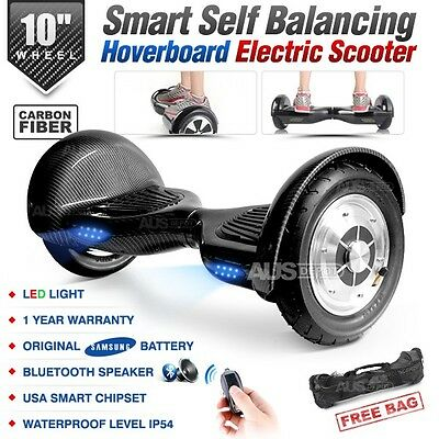 "10"" Two Wheel Bluetooth Smart Self Balancing Electric Scooter Carbon Hoverboard"