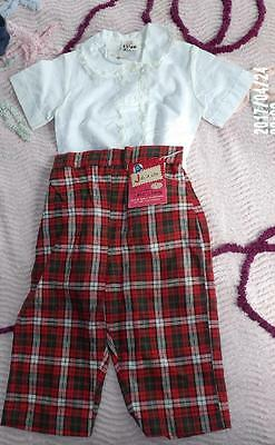 """CUTE VTG 50s RED BLACK PLAID TODDLER GIRLS COTTON PANTS """"JEANIE"""" NEW OLD SZ 3"""