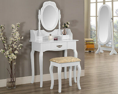 Black or White Dressing Table Set with Oval Mirror and Stool Bedroom Furniture