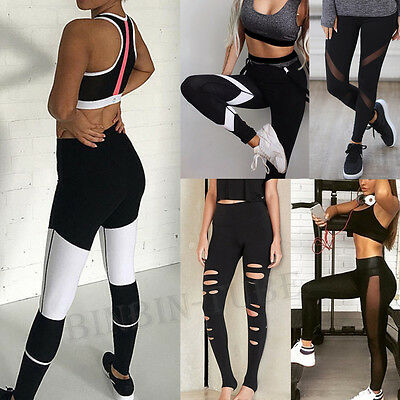 Womens High Waist Exercise Sport Yoga Pants Workout Stretch Trouser Gym Legging