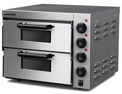 New Infernus Twin Deck Electric Pizza Oven Stone Bake Base 2x 20inch 13Amp