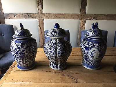 Antique Chinese Blue and White Prunus Porcelain Ginger Jars