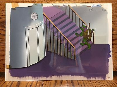 Original Tmnt animation production cel w hand painted background Ninja Turtles