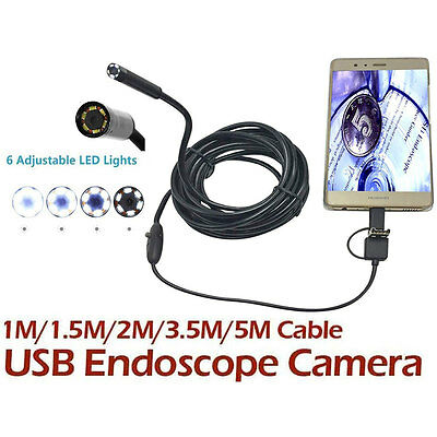 1-5M 6LED 8mm Android Endoscope Snake Inspection Camera for TYPE-C computer