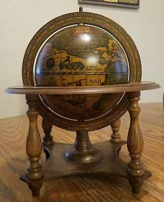 Vintage Old World Wooden Zodiac Globe Made in ITALY