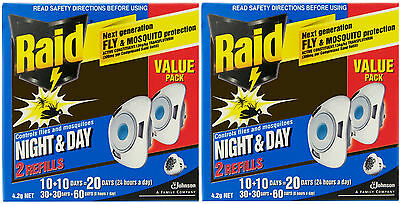RAID Refills for Night & Day Mosquito Fly Mozzie Zapper 2 Pkts =Total 4 Refills