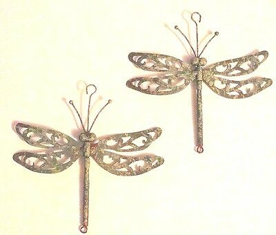 Dragonfly Graden Decor 2 New Metal Dragonflies With Wind Propelled Spining Wings