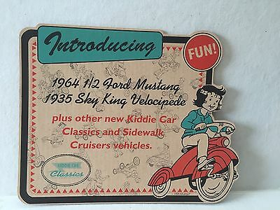 New 1995 Murray Hallmark Kiddie Car Classics Store Display Unused Cardboard Sign
