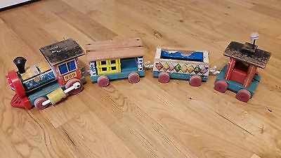 Fisher Price Vintage Wooden Train - Pull Toy #999