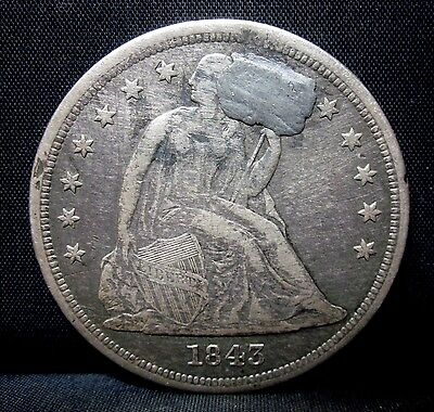 1843-P $1 Seated Liberty Dollar ✪ Vf Details ✪ Silver Damage Plugged ◢Trusted◣