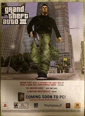 Grand Theft Auto 3 Poster Ad Print Playstation Rockstar