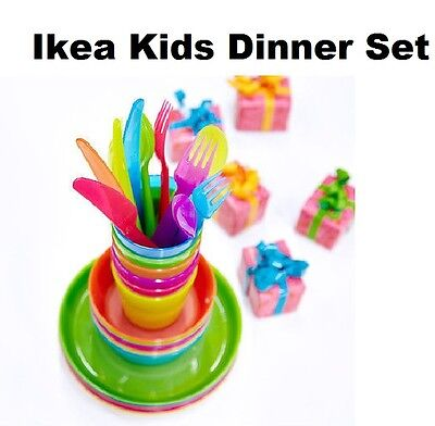 Ikea Children's Plastic Bowls Cups Plates Cutlery Kalas Set or Individual Kids